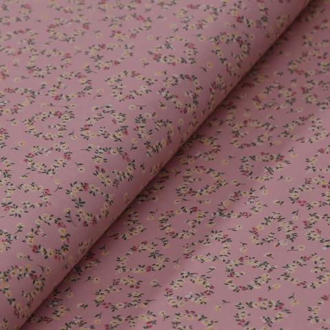 Stoffa in cotone rosa  con coroncine con fiorellini gialli stafil altezza 110 cm x  50cm