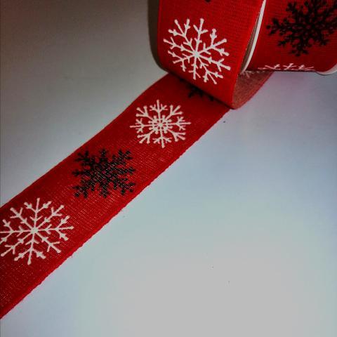 nastro rosso con fiocchi neve goldi decor h.40mm per 1mt nastri