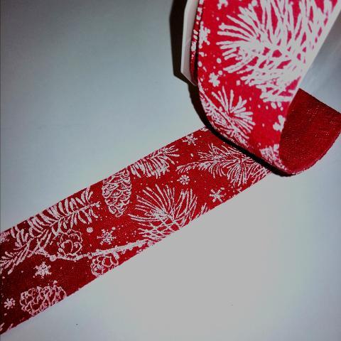 nastro decorativo  rosso con pigne stafil 40mm per 1 metro nastri
