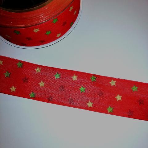 nastro rosso con stelle verdi rosse oro pbs 40mm x1mt nastri