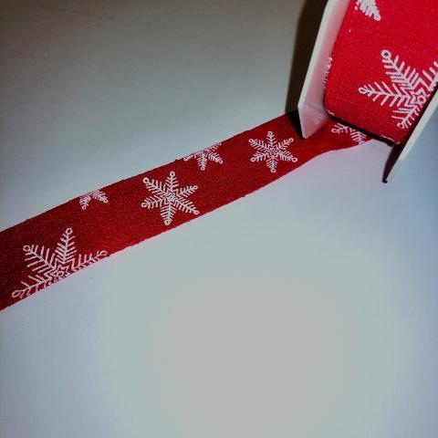 nastro rosso con fiocchi neve stafil 25mm x 1 mt nastri