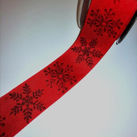 nastro rosso con cristalli di neve goldina 24mm x 1mt nastri