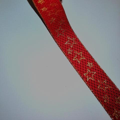 nastro rosso con stelle oro goldina 24mm x 1mt nastri