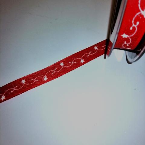 nastro rosso con decoro bianco goldina 15mm x1 mt nastri