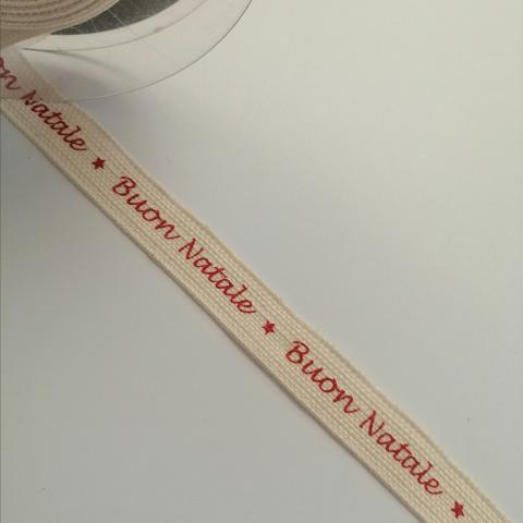 nastro panna con scritta buon natale goldina 15 mm x 1mt nastri