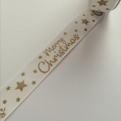 nastro bianco con scritta merry christmas in oro goldina 25 mm x 1mt nastri