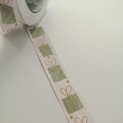 nastro bianco con pacchetti verdi goldina 250mm x 1mt