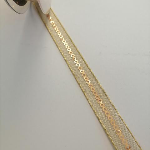 nastro oro con paillettes goldina 10 mm per 1 mt