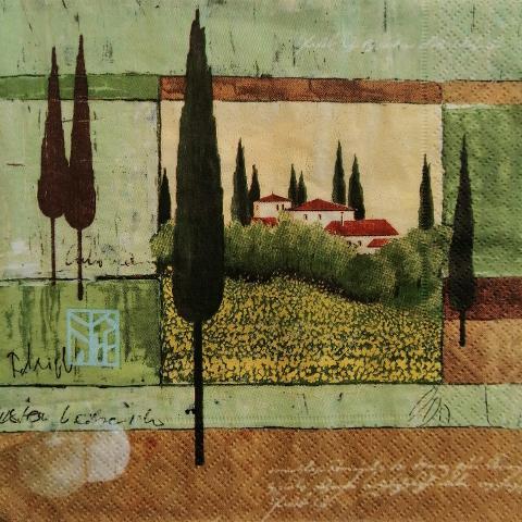 tovaglioli paesaggio e cipressi arti e grafica busta da 2 pezzi 33 x33 cm