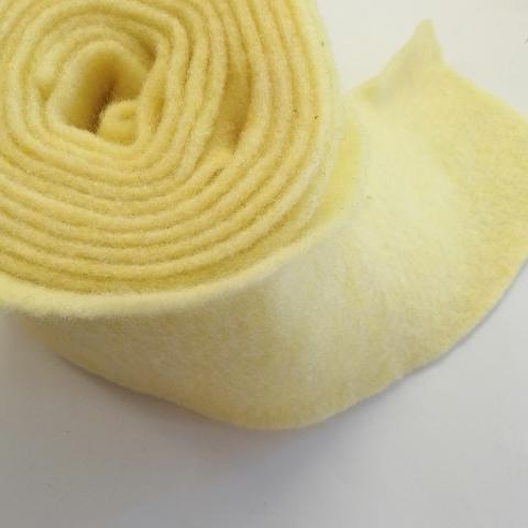 fascia di feltro in lana cotta di colore giallo canarino stafil 15cm x 1 mt