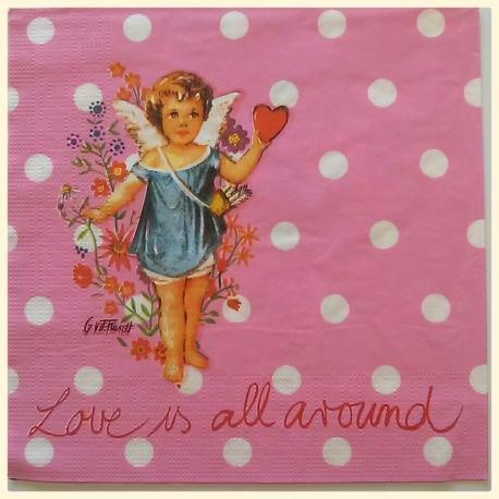 Tovagliolo angelo fiorucci rosa arti e grafica  busta da 2 pezzi 33 x 33 cm