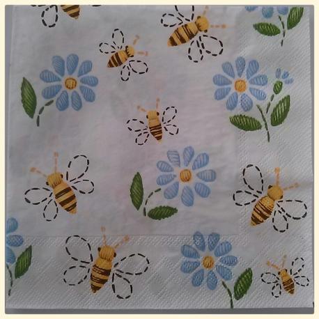 Tovagliolo api e fiori arti e grafica busta da 2 pezzi 33 x 33 cm