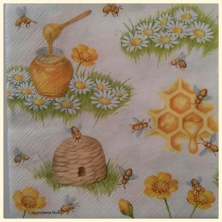 tovaglioli per decoupage miele api e margherite arti e grafica busta da 2 pezzi 33 x 33 cm