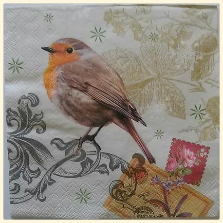 Tovagliolo per decoupage animali uccellino e ghirigori arti e grafica 33x33