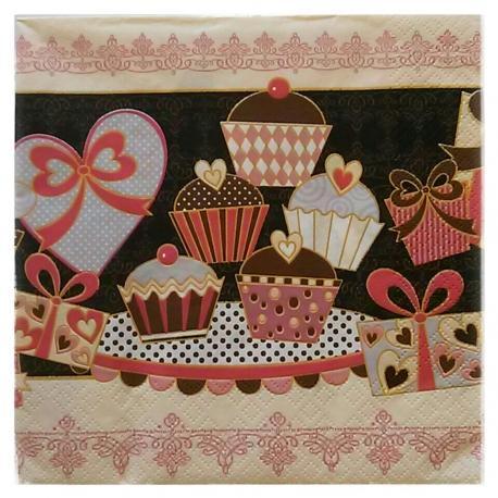 Tovaglioli per decoupage dolcetti arti e grafica busta da 2 pezzi 33 x 33 cm