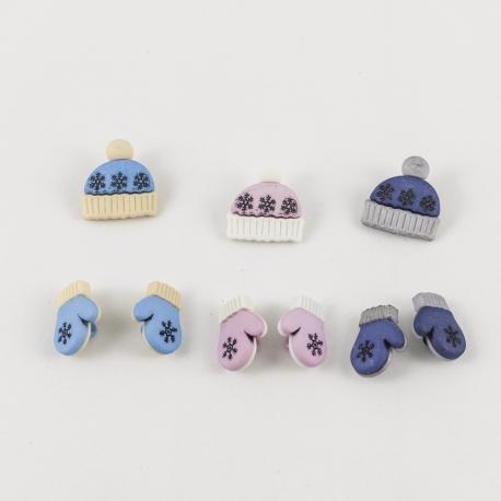 Bottoni decorativi cappellini e guanti neve arti e grafica 2cm