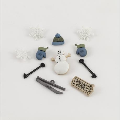 Bottoni decorativi pupazzo di neve con slitta, sci  arti e grafica 1-3cm circa