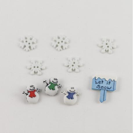 Bottoni decorativi pupazzo di neve con cartello e fiocchi di neve arti e grafica 1-3cm circa
