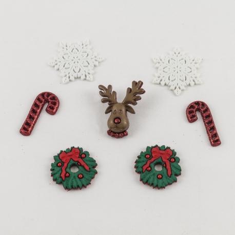 Bottoni decorativi renne e ghirlande di natale arti e grafica 3cm