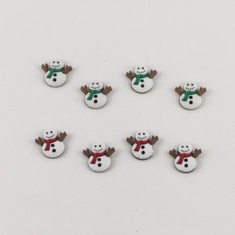 Bottoni decorativi pupazzi di neve con sciarpe rosse e verdi marianne hobby 1.5cm