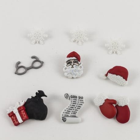 Bottoni decorativi babbo natale, fiocchi di neve, sacco arti e grafica 1-2,5cm