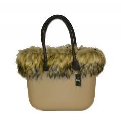 Borsa O bag beige manici lunghi bordo eco pelliccia murmasky O bag