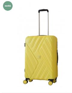 Trolley misura media 66x42x25 giallo RAVIZZONI MOJITO Trolley in ABS, 4 ruote, scomparto interno con tasca. Chiusura TSA a combinazione. Medio