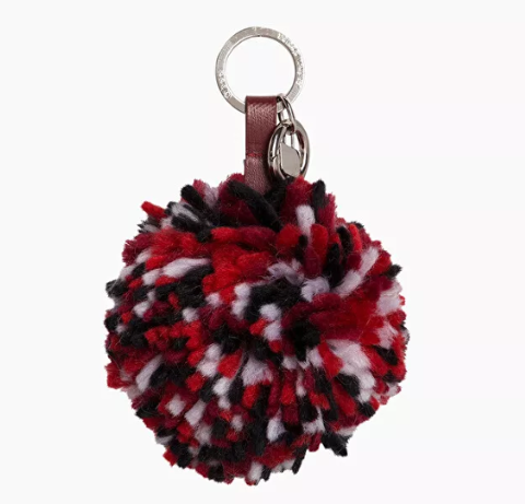 Pon Pon rosso in lana tricot O Bag Dimensione 15cm lung., 10cm largh.