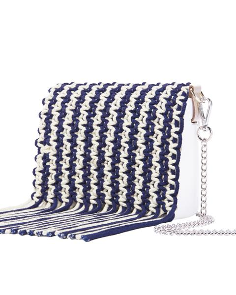 O pocket pattina in cotone con frange color Navy O Bag Pattina per O pocket in cotone colorato intrecciato con frange