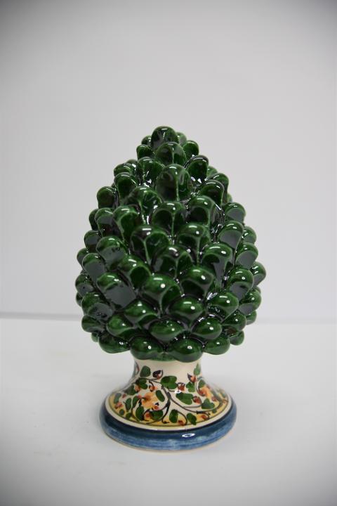 Pigna siciliana in ceramica verde bottiglia Produzione artigianale di Caltagirone  h.17