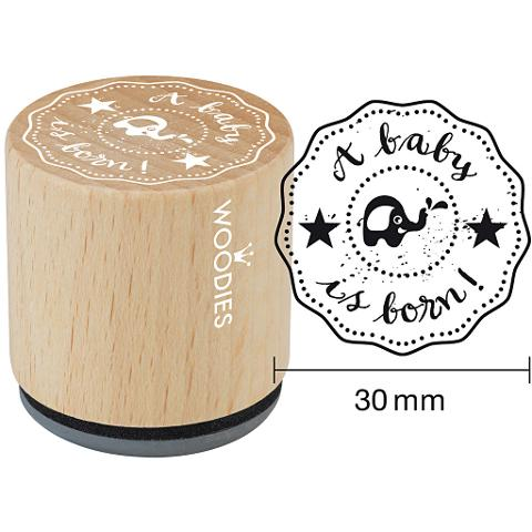 WOODIES TIMBRO BABY ELEFANTINO  WOODIES  TIMBRO IN LEGNO 3CM