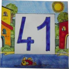 Piastrella quadrata  Nino Parrucca per numero civico