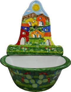 Lavabo in ceramica Nino Parrucca Lavabo con parete
