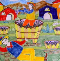 Piastrella in ceramica decoro La Vendemmia Nino Parrucca Quadrata - Cod. 13