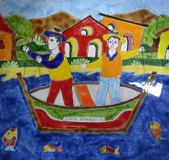 Piastrella in ceramica decoro pesca Nino Parrucca Quadrata - Cod. 17