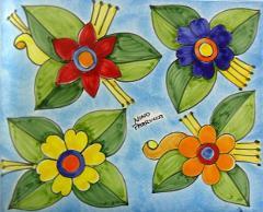 Piastrella in ceramica decoro fiori grandi Nino Parrucca Rettangolare - Cod. 49