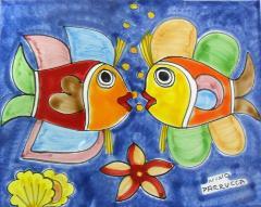 Piastrella in ceramica decoro pesci che si baciano Nino Parrucca Rettangolare - Cod. 26
