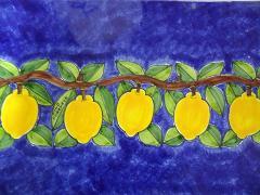 Piastrella in ceramica decoro ramo limoni Nino Parrucca Rettangolare - Cod. 64