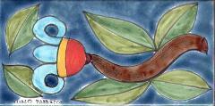 Piastrella in ceramica decoro tulipano a sinistra Nino Parrucca Rettangolare - Cod. 54