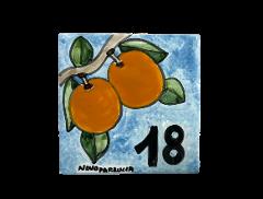 Piastrella arance Nino Parrucca personalizzata