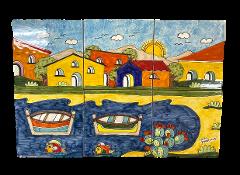 Pannello in ceramica da 6 piastrelle Nino Parrucca casette con golfo