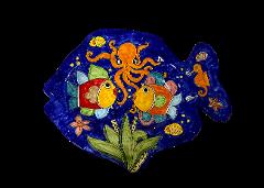 Piatto grande a forma di Pesce Nino Parrucca cm.52x41