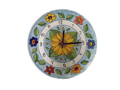 Orologio con Girasoli e fiori Nino Parrucca a Piatto