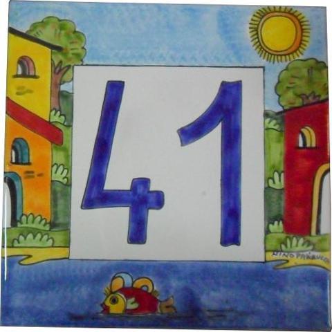 Piastrella quadrata per numero civico Nino Parrucca