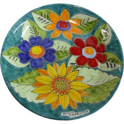 Piatto Artistico con fiori Nino Parrucca bordo alto