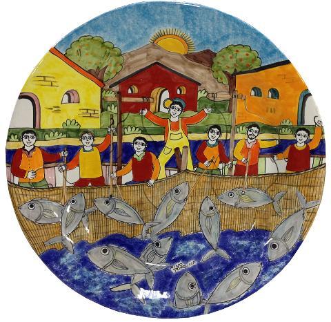 Piatto artistico Grande Nino Parrucca D. 53 cm