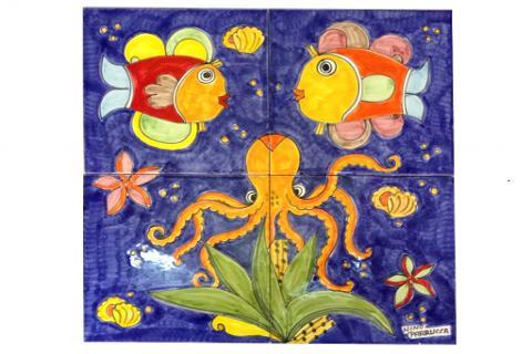 Pannelli artistici in ceramica Nino Parrucca da 4 piastrelle