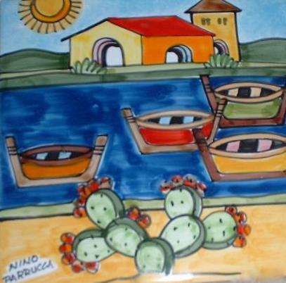 Piastrella in ceramica decoro casette con mare e barche Nino Parrucca Quadrata - Cod. 15