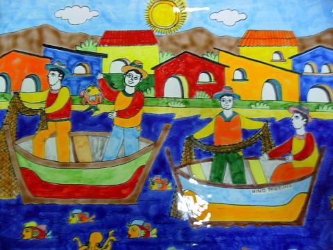 Piastrella in ceramica decoro pescatori Nino Parrucca Rettangolare - Cod. 14