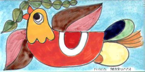 Piastrella in ceramica decoro Colomba sfondo celeste Nino Parrucca Rettangolare - Cod. 58